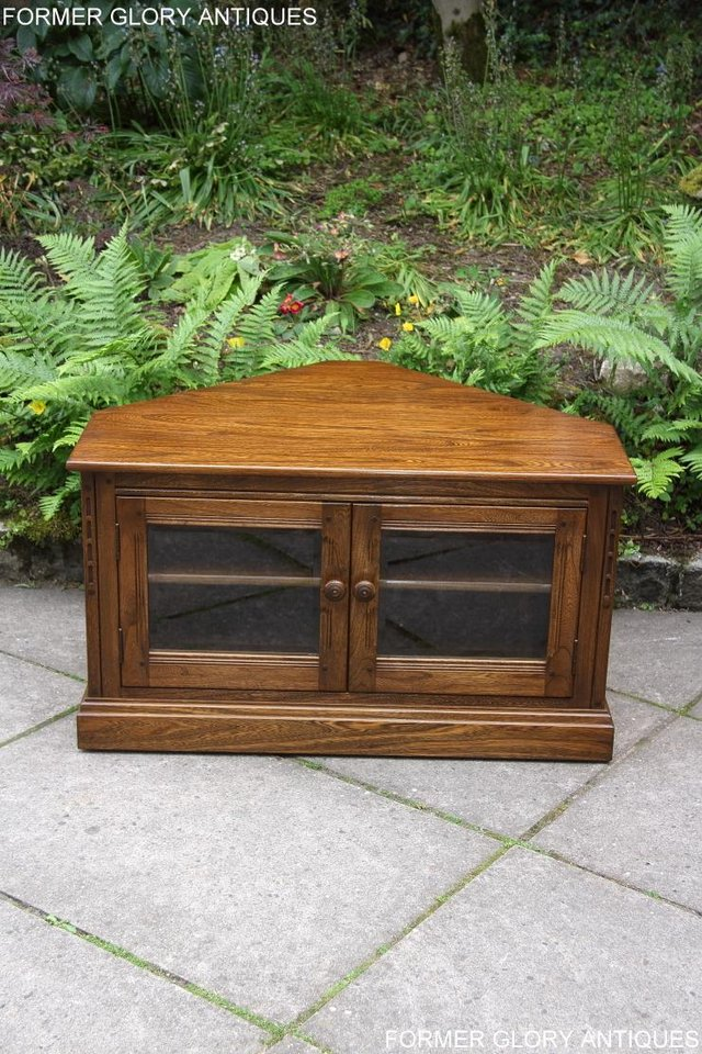 Image 56 of ERCOL GOLDEN DAWN ELM CORNER TV CABINET STAND TABLE UNIT