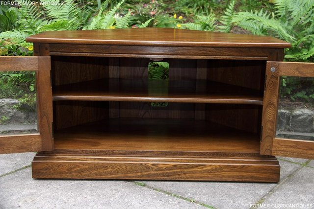 Image 59 of ERCOL GOLDEN DAWN ELM CORNER TV CABINET STAND TABLE UNIT