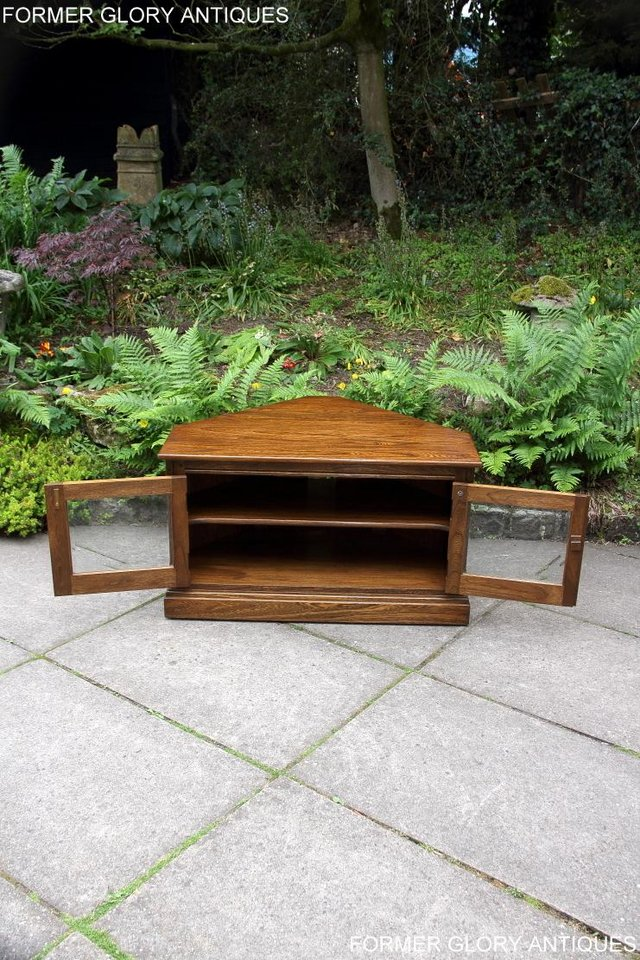 Image 64 of ERCOL GOLDEN DAWN ELM CORNER TV CABINET STAND TABLE UNIT