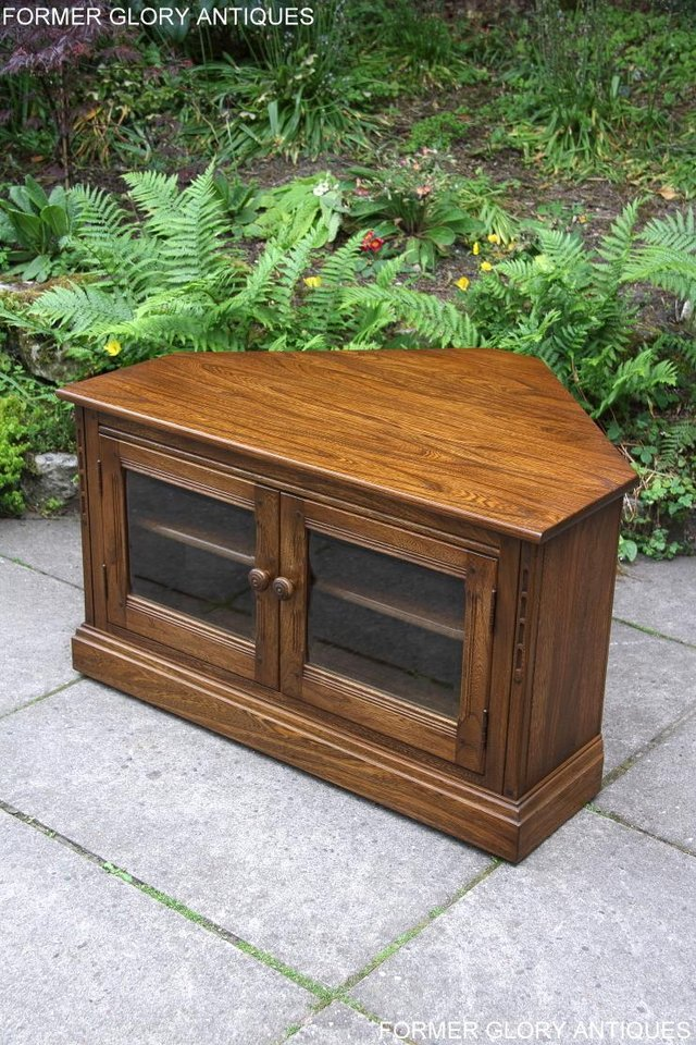 Image 65 of ERCOL GOLDEN DAWN ELM CORNER TV CABINET STAND TABLE UNIT