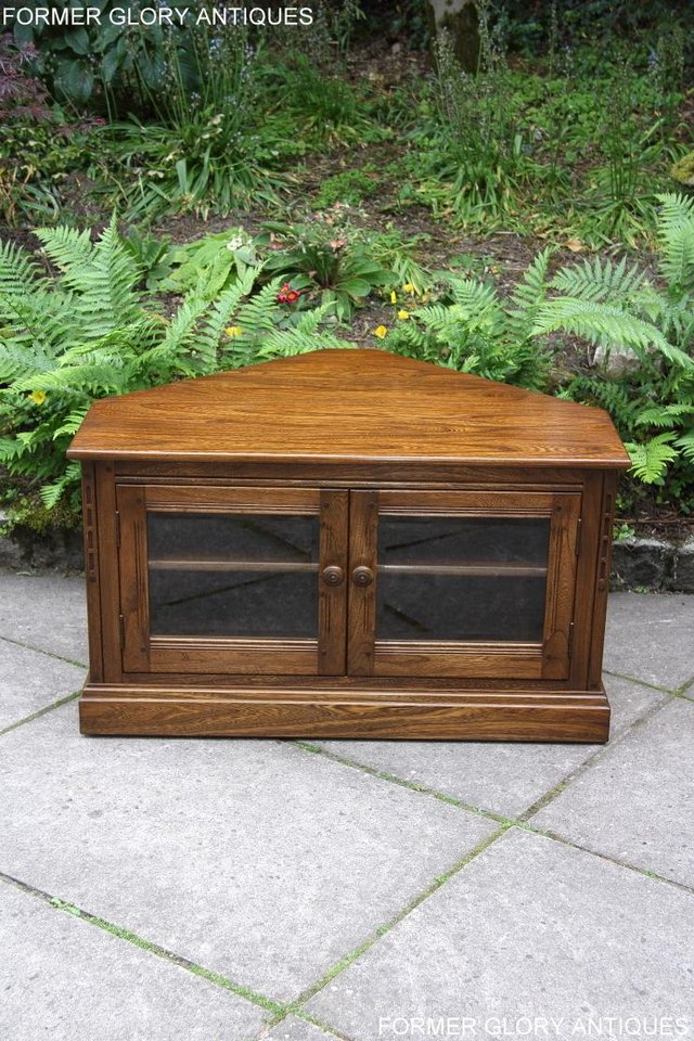 Image 72 of ERCOL GOLDEN DAWN ELM CORNER TV CABINET STAND TABLE UNIT