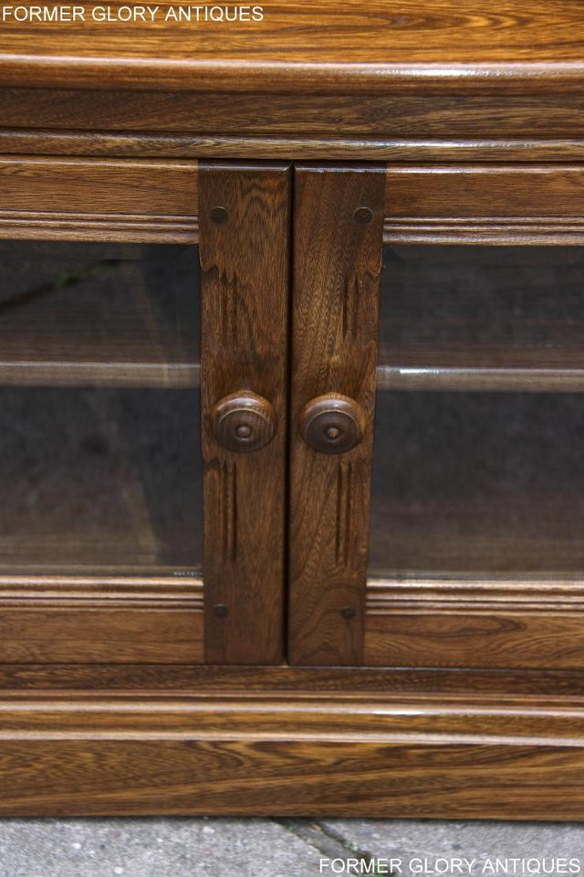 Image 75 of ERCOL GOLDEN DAWN ELM CORNER TV CABINET STAND TABLE UNIT