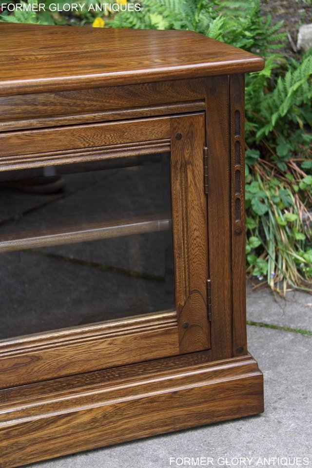 Image 79 of ERCOL GOLDEN DAWN ELM CORNER TV CABINET STAND TABLE UNIT