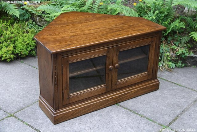 Image 81 of ERCOL GOLDEN DAWN ELM CORNER TV CABINET STAND TABLE UNIT