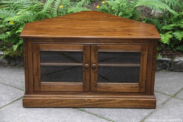Image 83 of ERCOL GOLDEN DAWN ELM CORNER TV CABINET STAND TABLE UNIT
