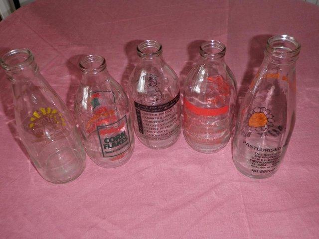 Image 2 of Five Decorative Pint Glass Milk Bottles