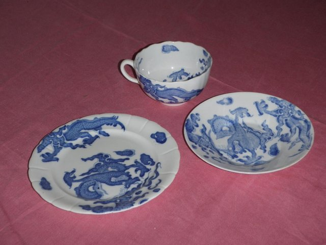 Image 2 of Blue and white cup saucer and plate with dragon design