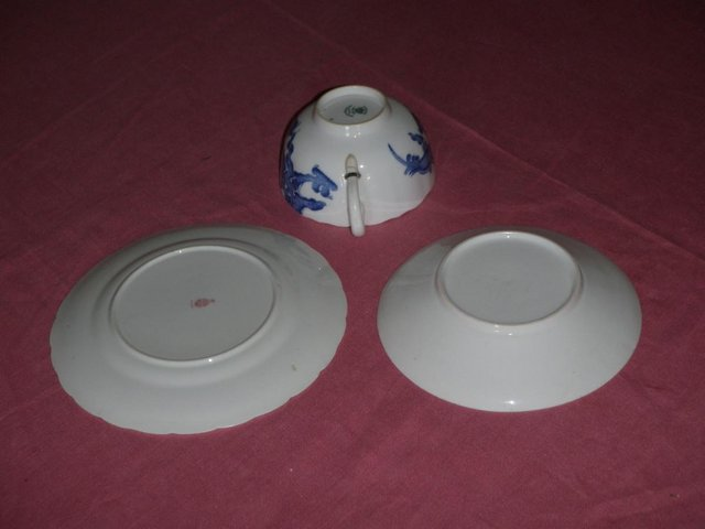 Image 3 of Blue and white cup saucer and plate with dragon design