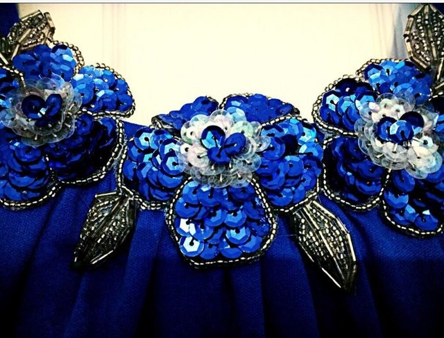 Preview of the first image of Blue Maxi Ball Gown Prom Dress..