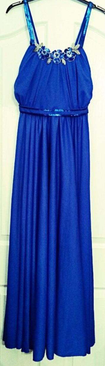 Image 2 of Blue Maxi Ball Gown Prom Dress.