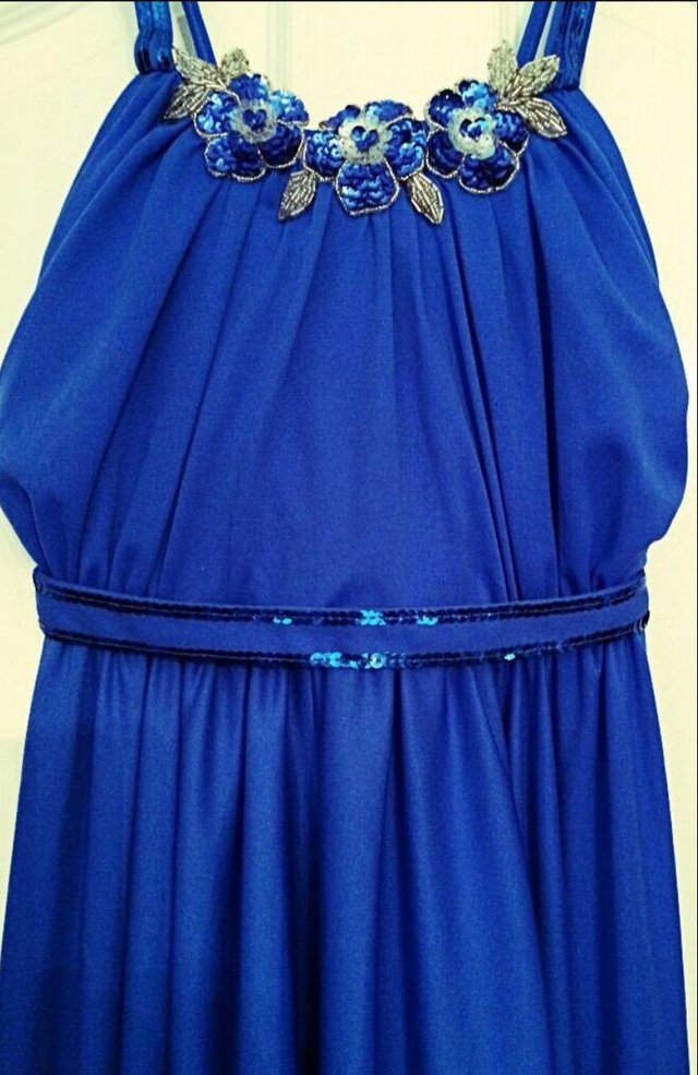 Image 3 of Blue Maxi Ball Gown Prom Dress.