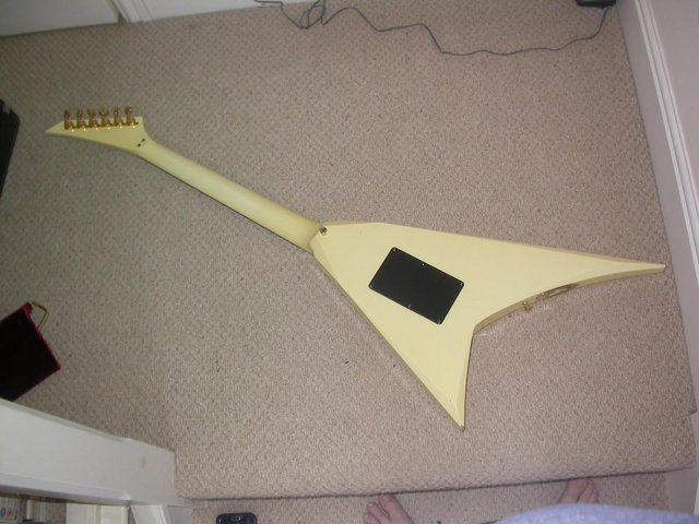 Image 2 of ESP CUSTOM SHOP RR FLYING V NECK THRU FLOYD ROSE HARD CASE