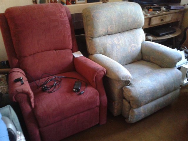 Preview of the first image of Two Recliner Armchairs, Electric & Manual Versions.