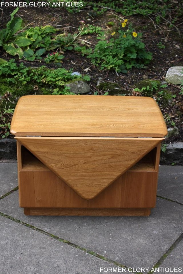 Image 8 of AN ERCOL WINDSOR LIGHT ELM CORNER TV CABINET DVD TABLE STAND