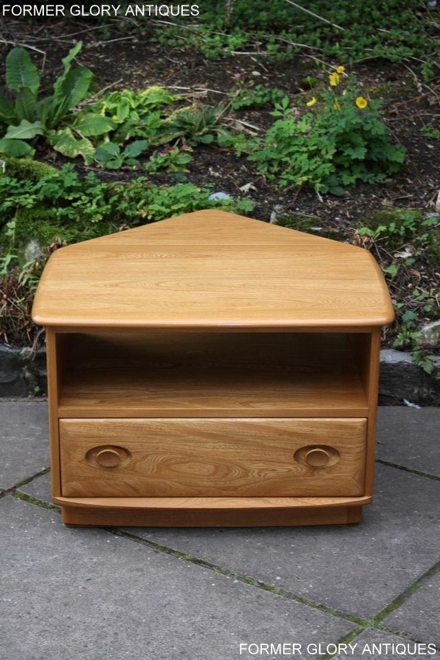 Image 67 of AN ERCOL WINDSOR LIGHT ELM CORNER TV CABINET DVD TABLE STAND
