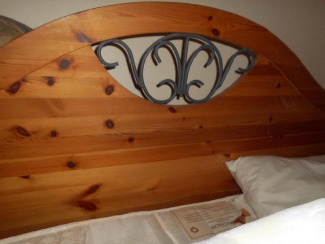 Image 2 of WOOD HEADBOARD AND FOOTBOARD WITH WROUGHT IRON INSERTS