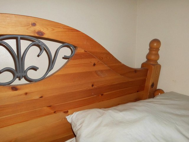 Image 3 of WOOD HEADBOARD AND FOOTBOARD WITH WROUGHT IRON INSERTS