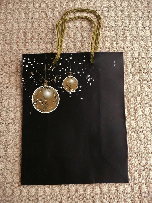 Preview of the first image of Black Christmas Gift Bag with Gold & White Baubles & Stars.