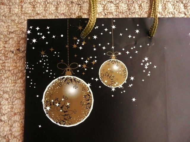 Image 2 of Black Christmas Gift Bag with Gold & White Baubles & Stars