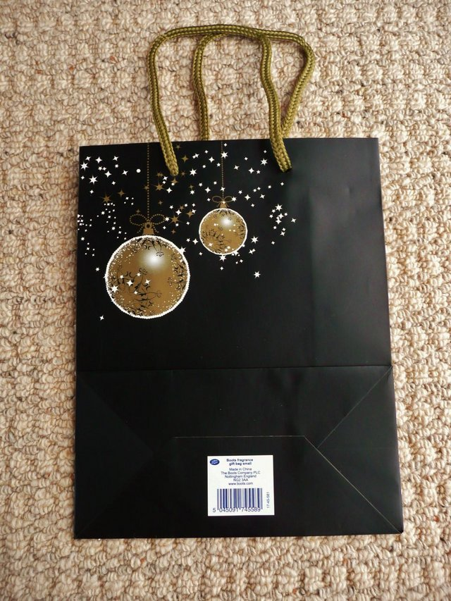 Image 3 of Black Christmas Gift Bag with Gold & White Baubles & Stars