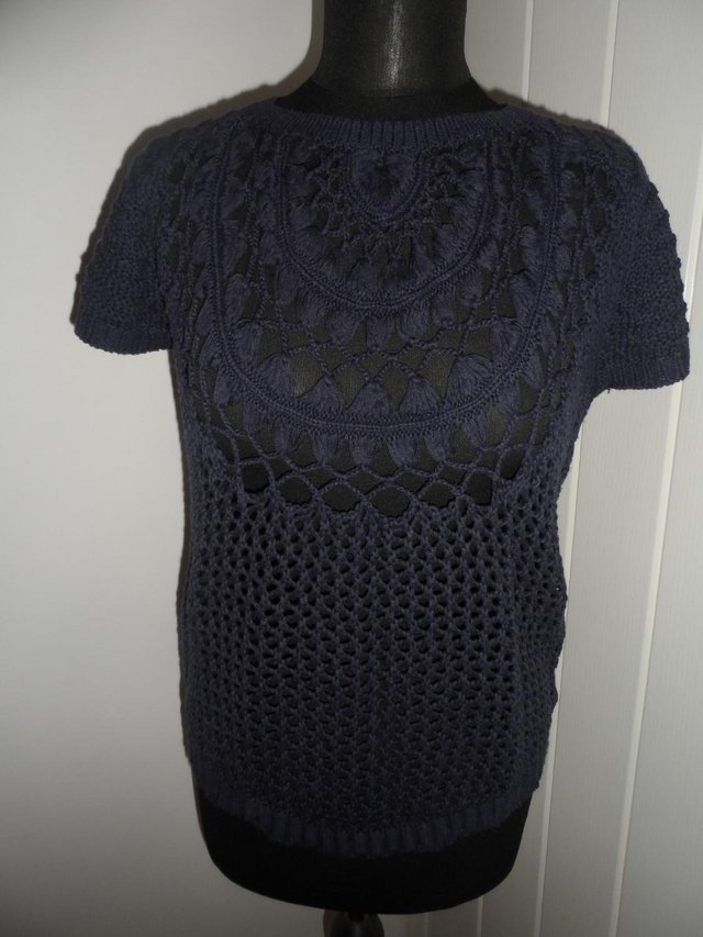 Image 2 of F&F Navy Blue Open Knit Short Sleeve Jumper in Size 6-8