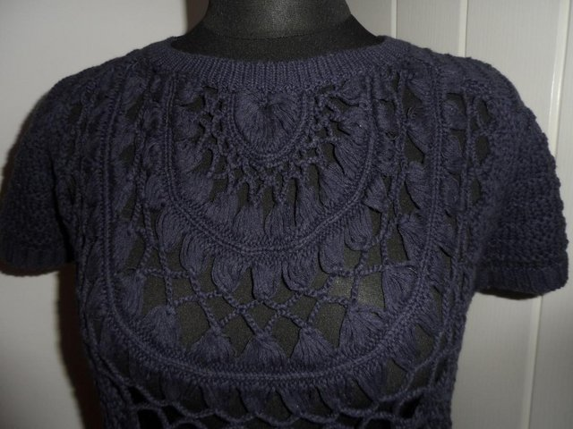 Image 3 of F&F Navy Blue Open Knit Short Sleeve Jumper in Size 6-8