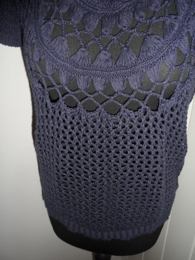 Image 6 of F&F Navy Blue Open Knit Short Sleeve Jumper in Size 6-8