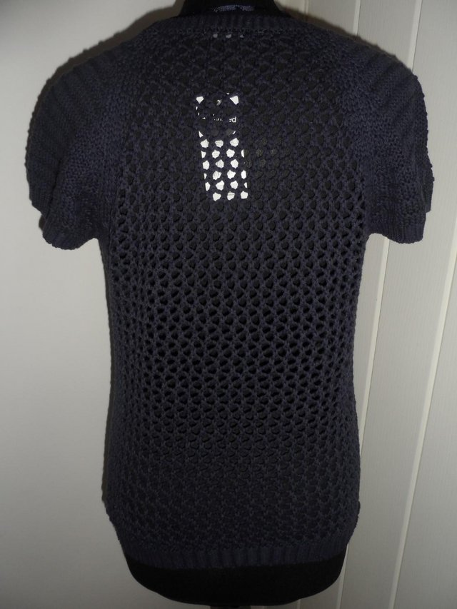 Image 7 of F&F Navy Blue Open Knit Short Sleeve Jumper in Size 6-8