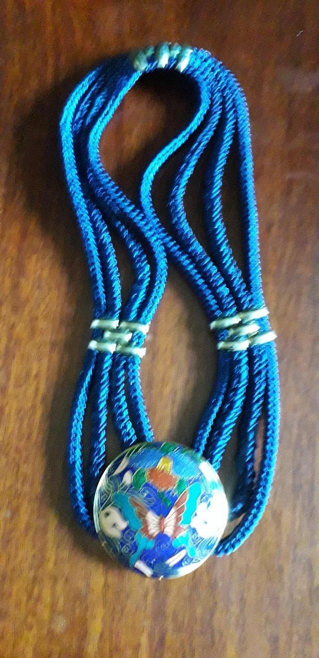 Image 2 of Blue Elasicated Belt with Chinese Cloisonne Decoration