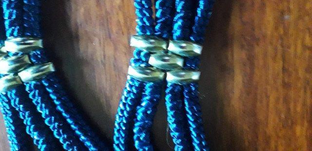 Image 3 of Blue Elasicated Belt with Chinese Cloisonne Decoration