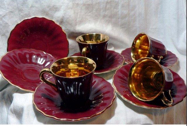 Preview of the first image of Wade Rouge & Gold Coffee Cups & Saucers - 4 Cups - 6 Saucers.