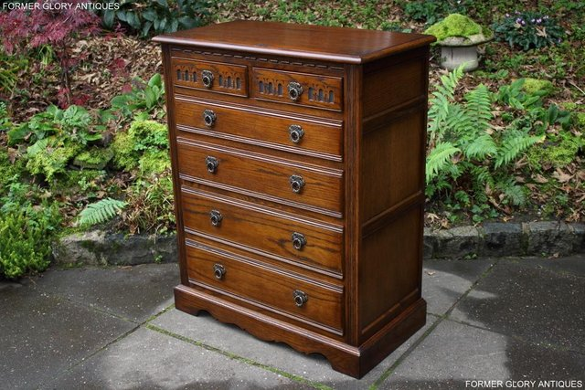 Image 2 of OLD CHARM LIGHT OAK TALL CHEST OF DRAWERS TV STAND SIDEBOARD