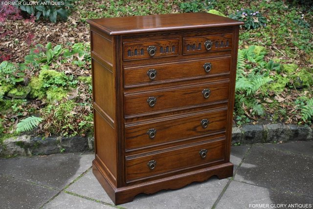 Image 3 of OLD CHARM LIGHT OAK TALL CHEST OF DRAWERS TV STAND SIDEBOARD