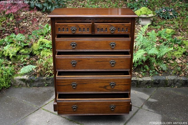 Image 4 of OLD CHARM LIGHT OAK TALL CHEST OF DRAWERS TV STAND SIDEBOARD