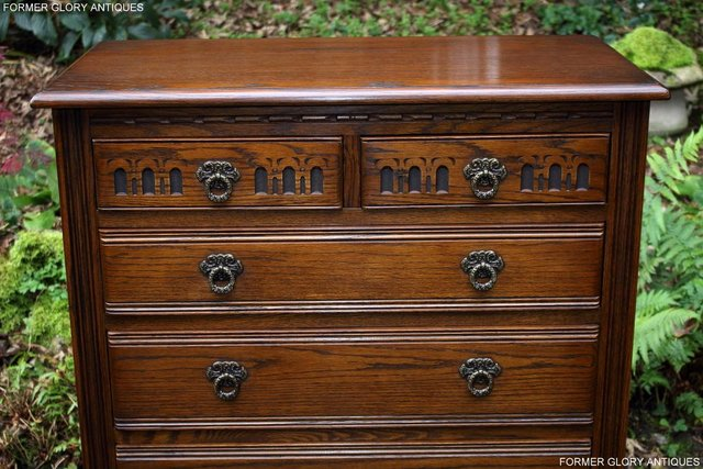 Image 8 of OLD CHARM LIGHT OAK TALL CHEST OF DRAWERS TV STAND SIDEBOARD
