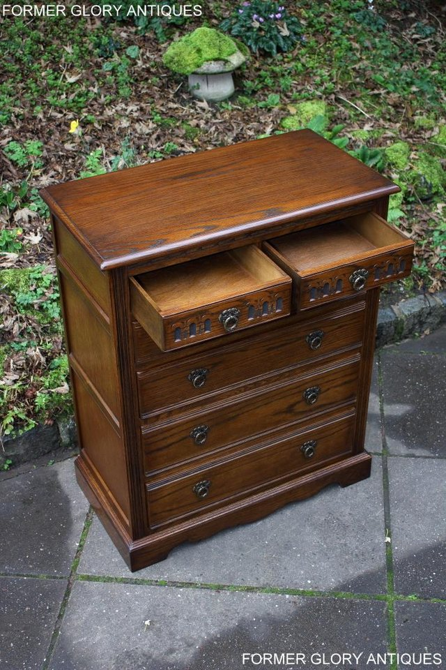 Image 9 of OLD CHARM LIGHT OAK TALL CHEST OF DRAWERS TV STAND SIDEBOARD