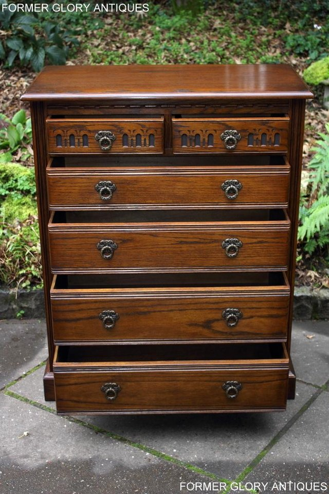Image 12 of OLD CHARM LIGHT OAK TALL CHEST OF DRAWERS TV STAND SIDEBOARD