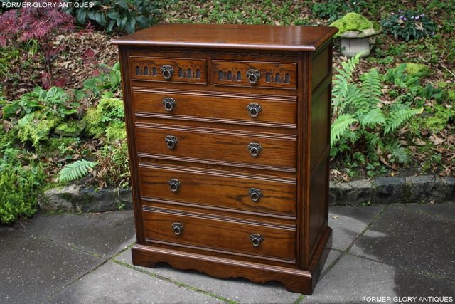 Image 13 of OLD CHARM LIGHT OAK TALL CHEST OF DRAWERS TV STAND SIDEBOARD