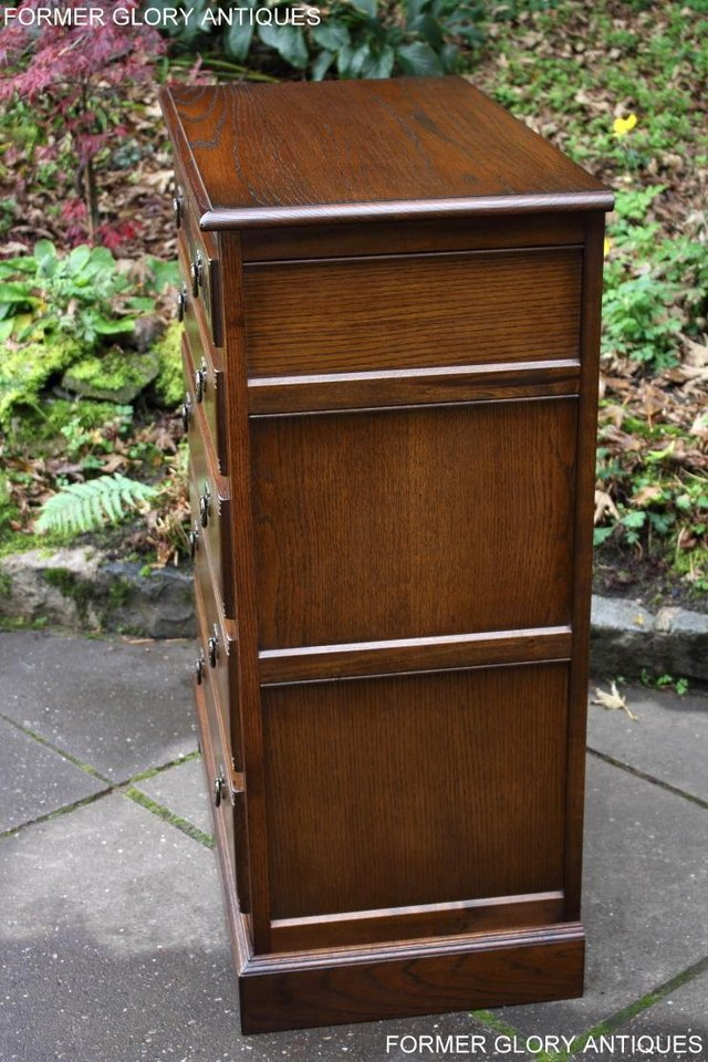 Image 17 of OLD CHARM LIGHT OAK TALL CHEST OF DRAWERS TV STAND SIDEBOARD