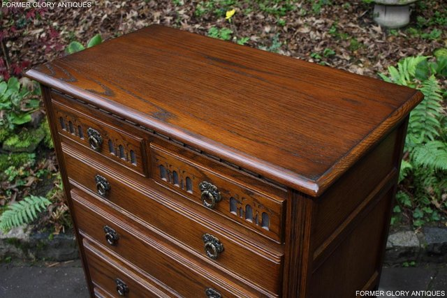 Image 24 of OLD CHARM LIGHT OAK TALL CHEST OF DRAWERS TV STAND SIDEBOARD