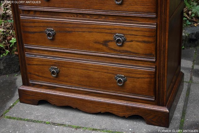 Image 26 of OLD CHARM LIGHT OAK TALL CHEST OF DRAWERS TV STAND SIDEBOARD