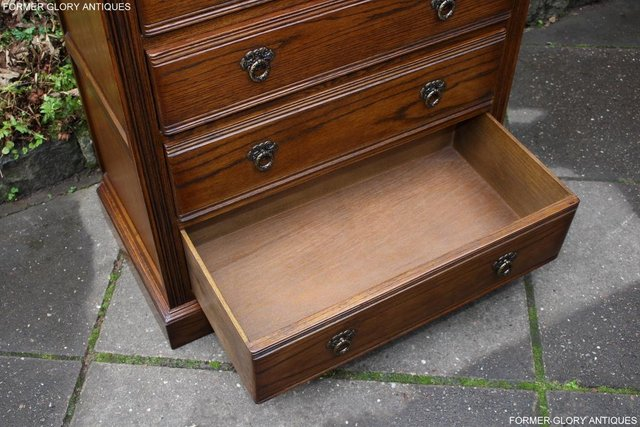 Image 27 of OLD CHARM LIGHT OAK TALL CHEST OF DRAWERS TV STAND SIDEBOARD