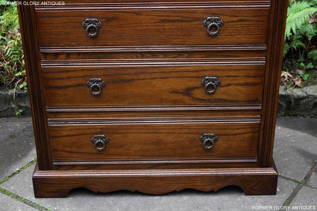 Image 30 of OLD CHARM LIGHT OAK TALL CHEST OF DRAWERS TV STAND SIDEBOARD