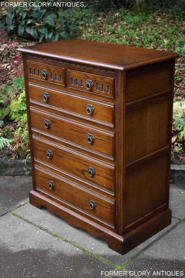 Image 31 of OLD CHARM LIGHT OAK TALL CHEST OF DRAWERS TV STAND SIDEBOARD