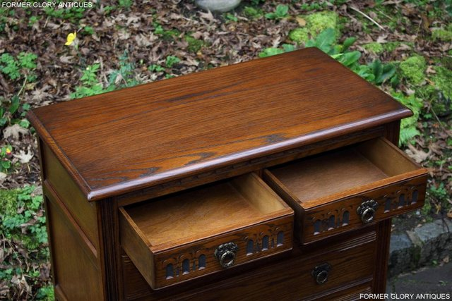 Image 34 of OLD CHARM LIGHT OAK TALL CHEST OF DRAWERS TV STAND SIDEBOARD