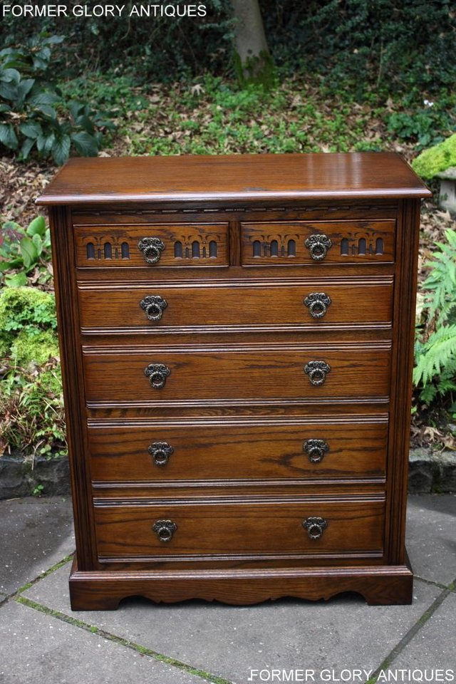 Image 39 of OLD CHARM LIGHT OAK TALL CHEST OF DRAWERS TV STAND SIDEBOARD