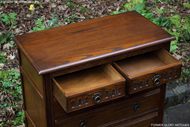 Image 45 of OLD CHARM LIGHT OAK TALL CHEST OF DRAWERS TV STAND SIDEBOARD