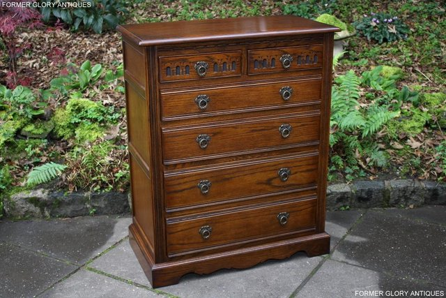Image 50 of OLD CHARM LIGHT OAK TALL CHEST OF DRAWERS TV STAND SIDEBOARD