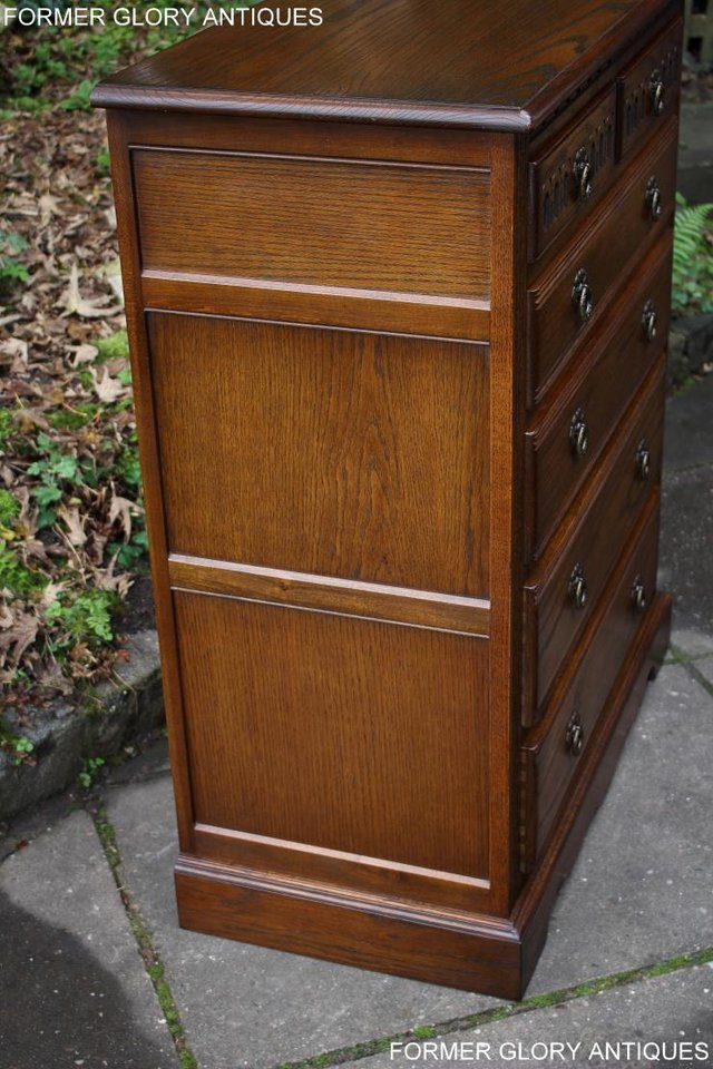 Image 52 of OLD CHARM LIGHT OAK TALL CHEST OF DRAWERS TV STAND SIDEBOARD