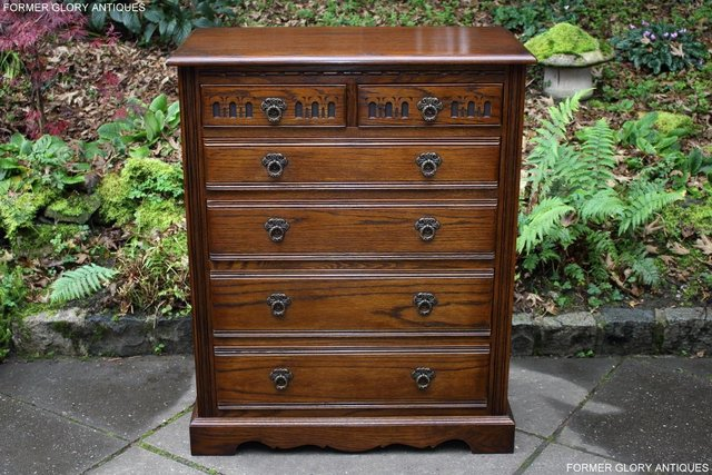 Image 55 of OLD CHARM LIGHT OAK TALL CHEST OF DRAWERS TV STAND SIDEBOARD